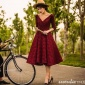 2016新款影楼主题服装 酒红色复古V领 蕾丝短裙写真拍照摄影礼服